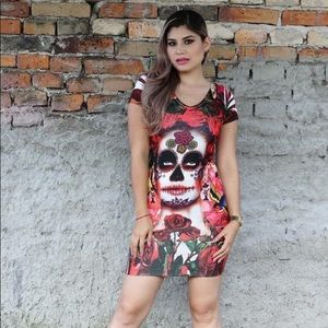 Mexican Catrina Red Roses Dress Day of the Dead
